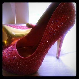 Coral rinestone heels